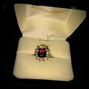 Amethyst ring with halo Swarovski crystal